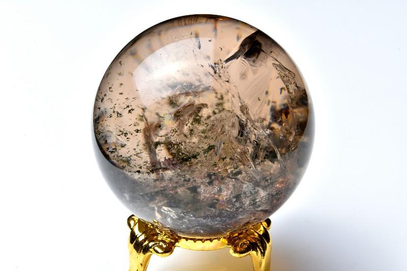 【1点物】ガーデンスモーキークォーツ 46mm 丸玉 原石(金属台座付き)_C1474 【宅急便のみ】