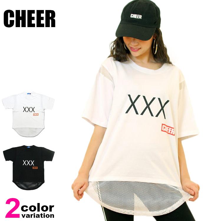 【メール便送料無料】CHEER (チアー) Tシャツ メッシュ切り替え デザイン BIG TEE レディース キッズ ジュニア ダンス スポーツジム フィットネス #cx833412