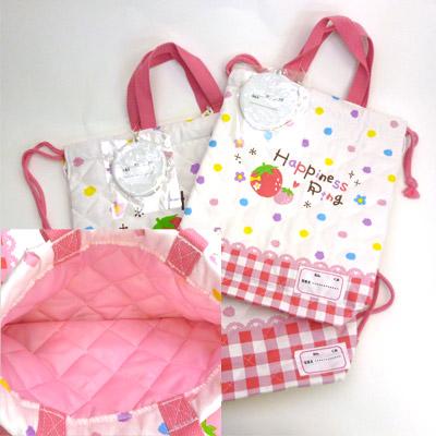 ●1478 gym suit bag + shoes bag sets (strawberry pattern)