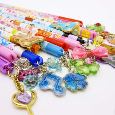 -1619 Pencil bags with a charm 12 piece set