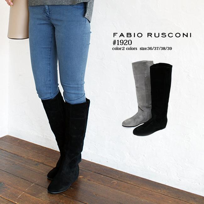 【FABIO RUSCONI】【ファビオルスコーニ】1920/イタリア発ブランドインヒールで美脚度アップのロングブーツインヒール4.5cm/ブラック/グレー/ バーゲン