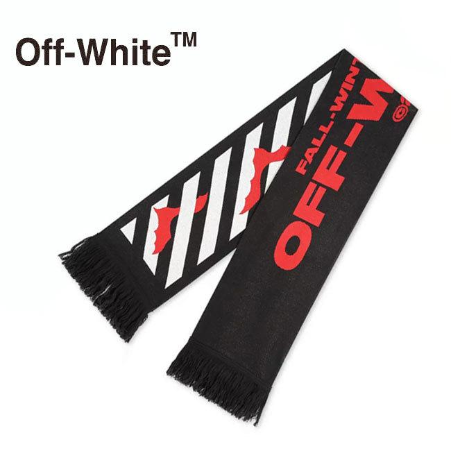 送料無料 即納 正規品 並行輸入 OFF WHITE オフホワイト デザインマフラー OMMA001E19407007 1020 全品最安値に挑戦 ふるさと割 フリンジ BLACK プレゼント RED ブラック ロゴ レッド ウール スカーフ メンズ