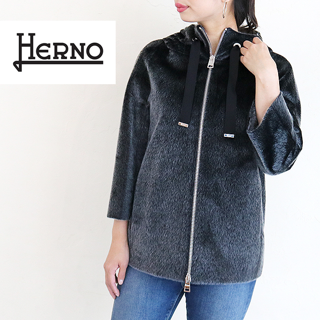 【送料無料】HERNO【ヘルノ】#GC015DR ヘルノ フーディーエコファージャケット ブラックBLACK(9300) ECO FUR HOODED SHORT JACKET エコファー フード レディース アウター 大きいサイズ 38 40 42 44