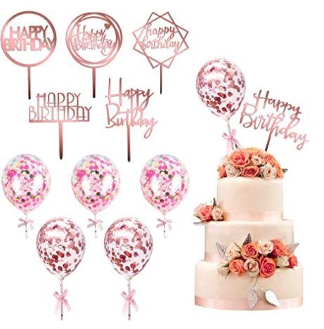 誕生日ケーキ・カップケーキ・アイスクリームに☆ ケーキ デコレーション プレート ローズゴールド12個セット 12 Pack Rose Gold Birthday Cake Topper Set - kortes