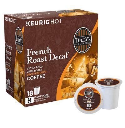 タリーズ ディカフェ フレンチロースト54個(18×3箱) ダークロースト キューリグ kカップ K-CUP Tully's Decaf French Roast Coffee