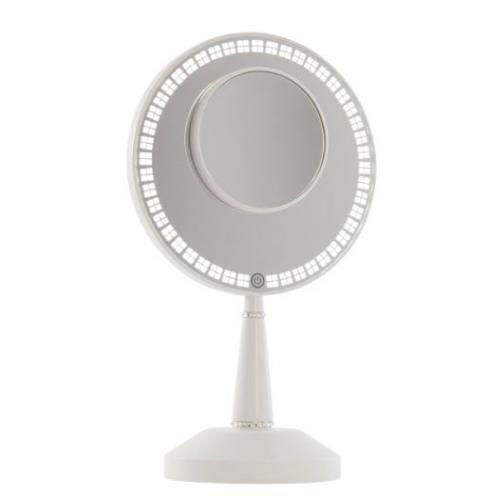 BIJOU 【ホワイト】卓上ミラー USBチャージスタンド 明るさ調整 LEDディマーライト 5倍拡大マグネット鏡付き IMPRESSIONS BIJOU LED HAND MIRROR WITH CHARGING STAND