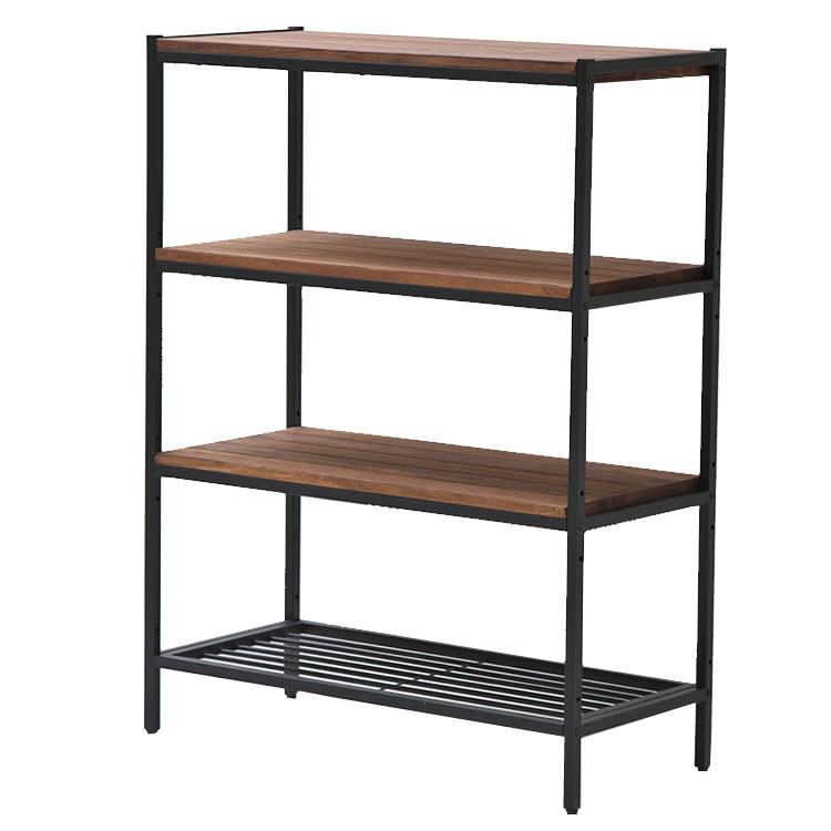 天然木製シェルフ4段 PR-860-4BRN シリーズ家具 シェルフ おしゃれ オシャレ オープンシェルフ 棚