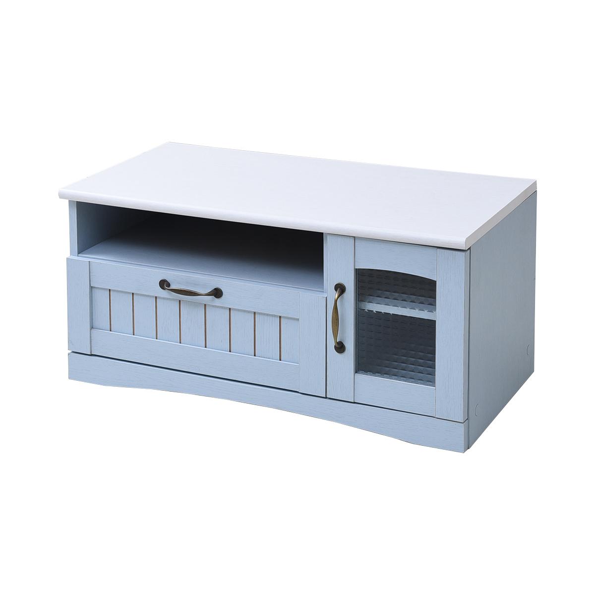 フレンチカントリー家具 テレビ台 幅80 フレンチスタイル ブルー&ホワイト 激安セール アウトレット価格 人気ランキング