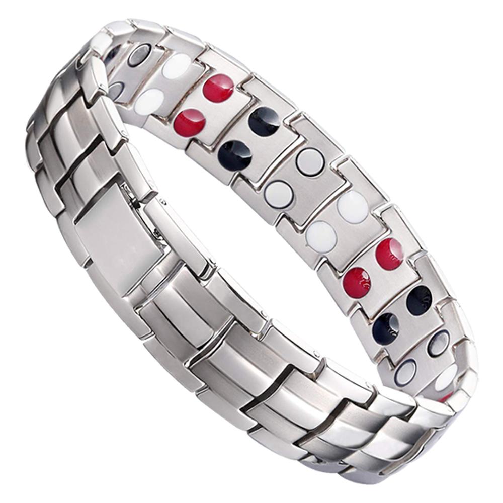 目にとっても優しい光です 送料無料 ゲルマニウムブレスレット シルバー 5%OFF 磁気ブレスレット メンズ 腕輪 アクセサリー ステンレス製 レデイース 磁気 最新 OSYABURE-SV