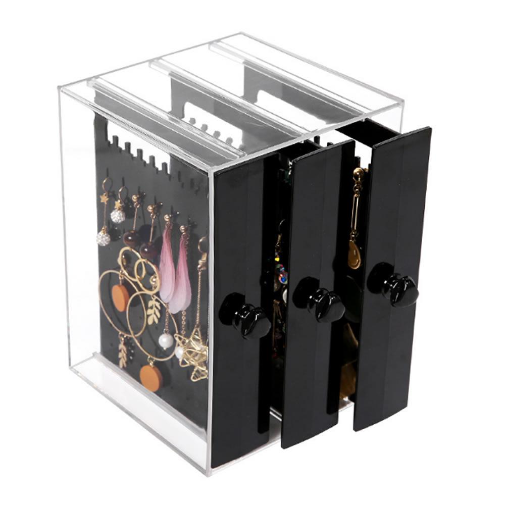 送料送料 収納できて便利 ジュエリー収納ボックス ブラック イヤリングケース ピアス 収納 透明 ケース PIASHUN-BK 防塵 大容量 代引き不可 新作 人気 三つの収納板 高級感