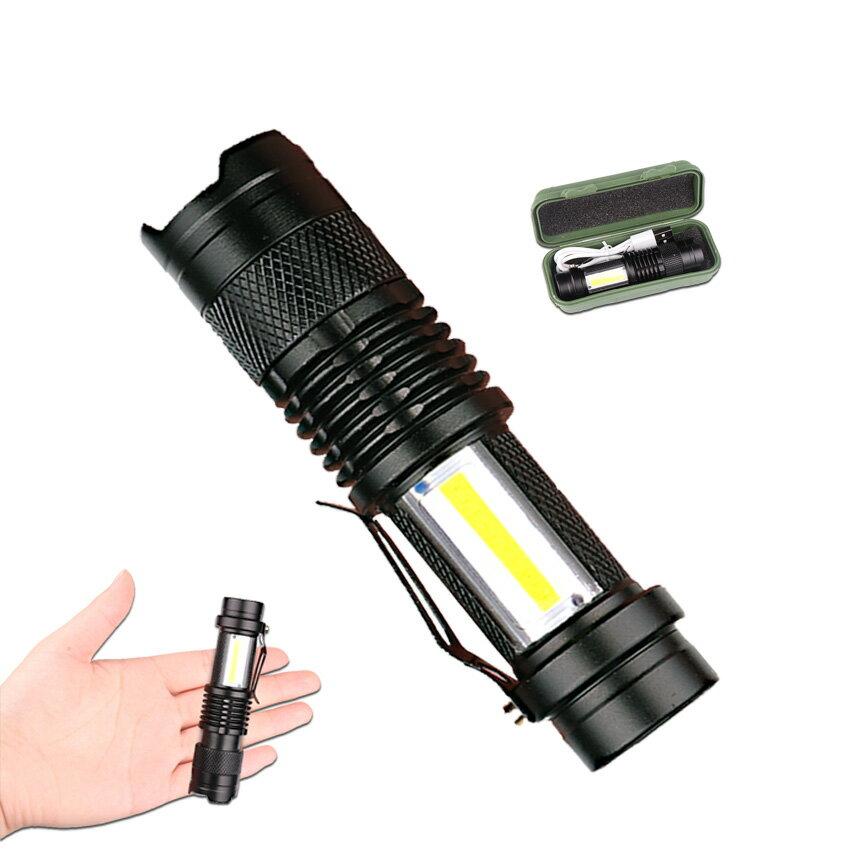 脅威の明るさで広範囲を照らす! USB充電式懐中電灯 作業灯 XPE+COB LED 強力 超小型 軍用 防災 点滅 停電灯 高輝度 ハンディライト 伸縮ズーム フラッシュライト キャンプ 釣り防犯 SK68USB