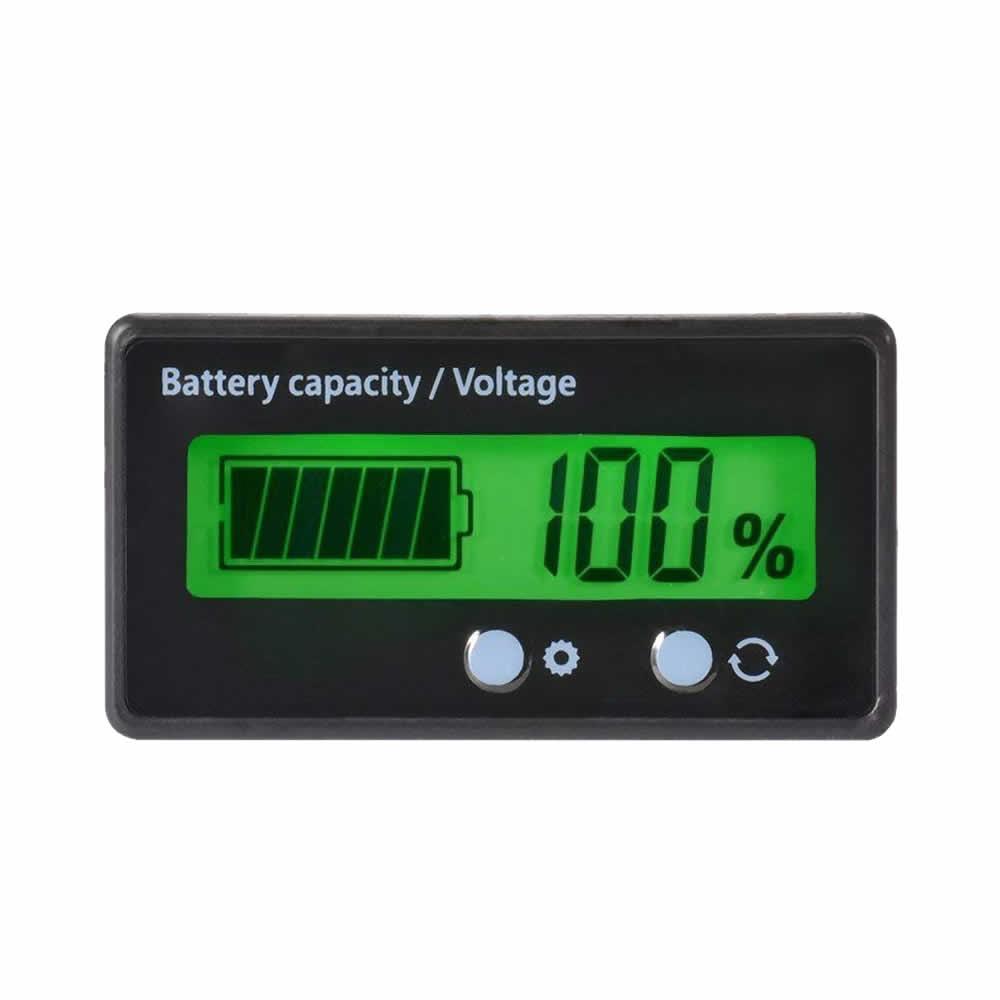 送料無料 バッテリーモニター ☆新作入荷☆新品 バッテリーチェッカー 電圧計 日本最大級の品揃え 残量計 MONMON 前面2ボタン 埋め込みタイプ LCD表示