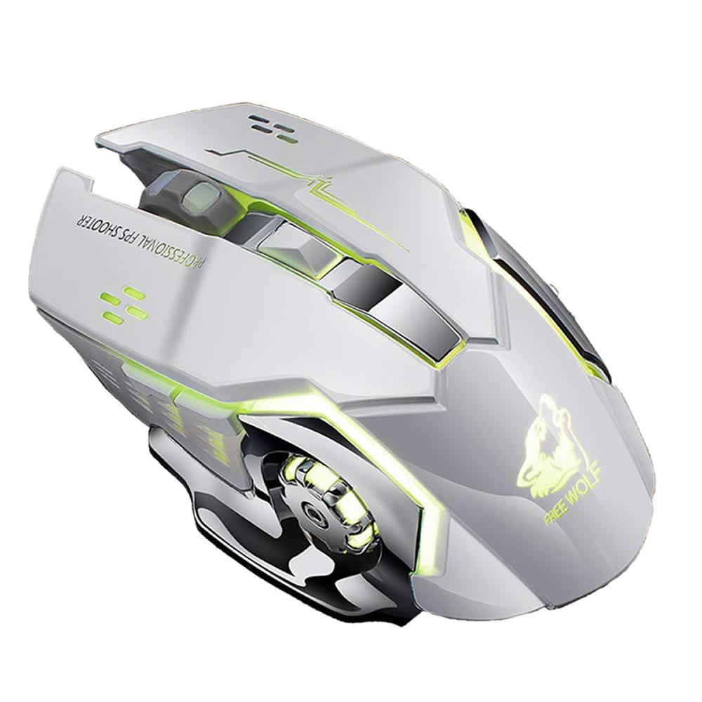 クレジット決済のみ送料無料 充電式 メーカー直売 無線マウス ホワイト ワイヤレスマウス 静音 ゲーミングマウス 3DPIモード 省エネ 高感度 JUMUMAU-WH 2.4GHz 7色LEDライト アウトレットセール 特集 光学式