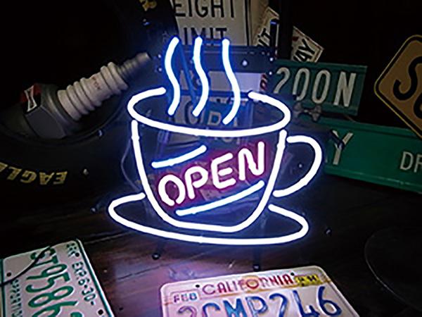 アメリカン ネオンサイン カフェ オープン(CAFE OPEN)H380×W380mm ネオン看板 ネオン管 西海岸風 インテリア アメリカン雑貨