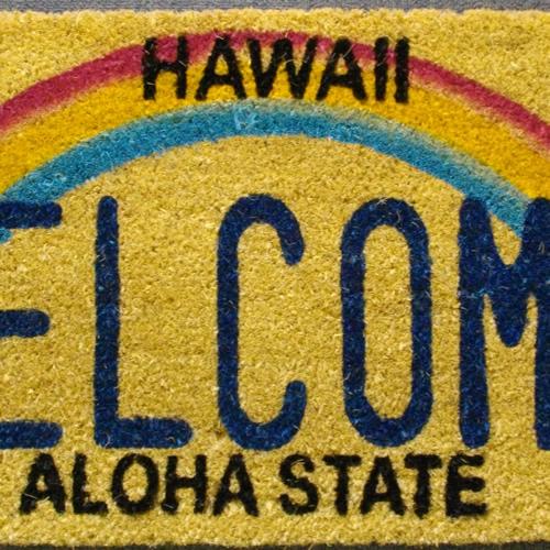 Coconut doorstep Hawaii welcome / Hawaii Ann here mat / carp yeah mat