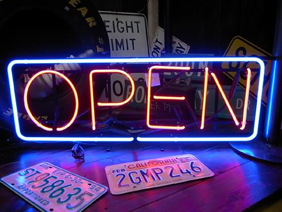OPEN(Lサイズ)のネオン管 ネオンサイン 看板 オープン 店舗看板 西海岸風 インテリア アメリカン雑貨