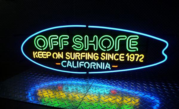サーフブランド オフ・ショア ロングボード ネオン管(カリフォルニア)ネオンサイン 西海岸風 インテリア アメリカン雑貨