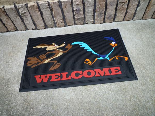 Road Runner welcome rubber mat wile e. Coyote door mat garage mat