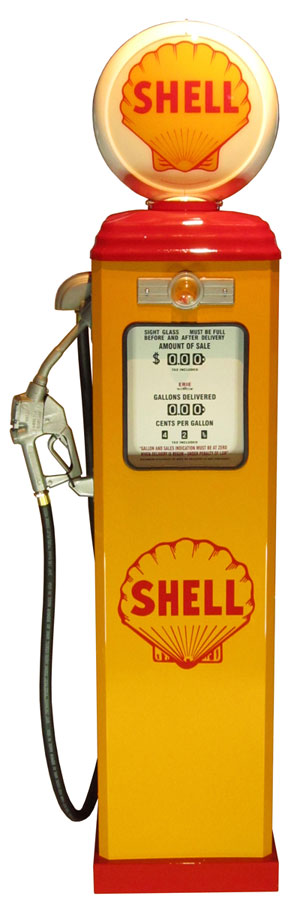 1950年代のガスポンプ SHELL(シェル)ライト付き オブジェ 195cm 《GAS PUMP》 プロモーション ガレージ 西海岸風 インテリア アメリカン雑貨