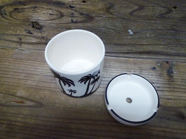 冲浪灰托盘 (烟灰缸) 棕榈树夏威夷陶瓷带盖列烟灰缸 ☆ 内政