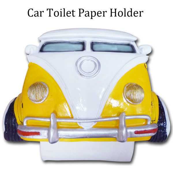 American toilet paper holder (wow, gene bus AZ 485YE) VW yellow Volkswagen American car restroom American diner art object garage vintage West Coast