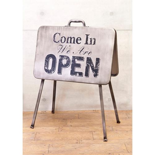 看板 店舗用 アメリカン メタル サインボード スタンド式 オープン&クローズ(OPEN CLOSED AZ-184F7R)メッセージ看板 両面看板 ブリキ看板 カフェ看板 折りたたみ アメリカ雑貨 看板 アメリカン雑貨