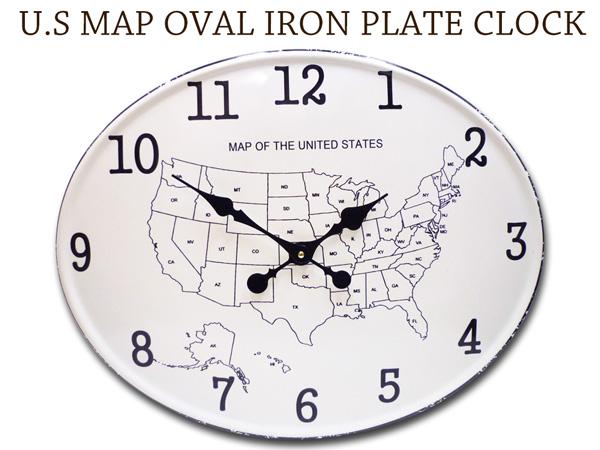 Lavieen Us Map Wall Clock W49cm Wall Hangings Clock Oval Iron - Us-clock-map