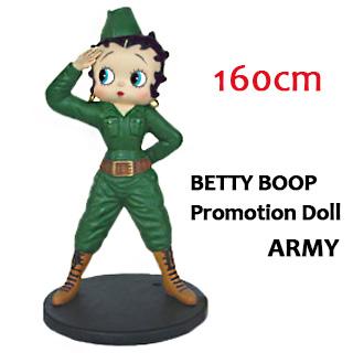ポイント10% ベティブープ ビッグセールスプロモーションドール 160cm 『Betty Boop ARMY アーミー』 LARGE SIZE オブジェ フィギュア ドール 大きい ミリタリー マスコット 店舗 装飾 アメリカン雑貨