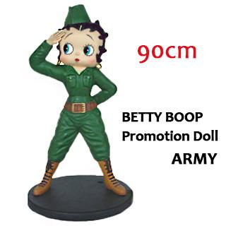 ポイント10% ベティブープ ビッグセールスプロモーションドール 90cm 『Betty Boop ARMY/アーミー』 MEDIUM SIZE オブジェ フィギュア ドール 大きい ミリタリー おしゃれ マスコット 店舗 装飾 アメリカン雑貨