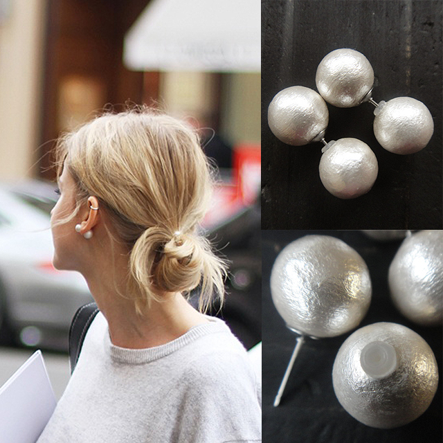 White Double Cotton Pearl Earrings Made In An 12 Mm 12mm人 Care Reversible Grain Per Piercing