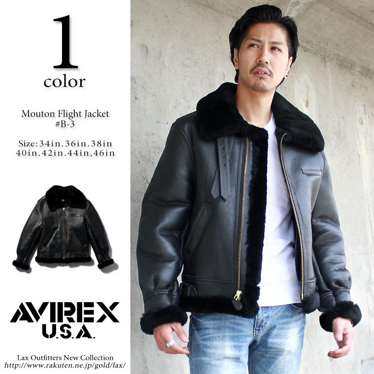 AVIREX アビレックス ムートンジャケット B-3 SHEEP SKIN BLACK 【USAモデル】【ラッキーシール対応】