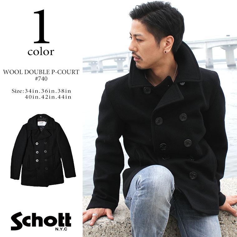 Schott ショット ウールメルトン Pコート 740 【USAモデル】 【初回交換無料】 【クーポン使用不可】