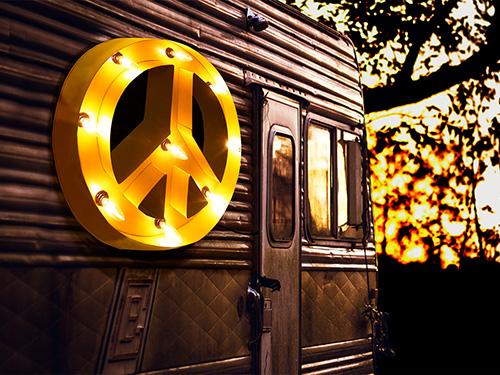 ブリキ立体看板/サイン(電球付き) ピースマーク Peace(全5色) アメリカンサイン・ウィズライト 雑貨 インテリア 店舗什器 *メール便不可 *代引き不可