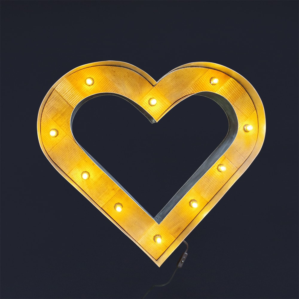 ブリキ立体看板/サイン(電球付き) ウッドハートマーク(シルバー) Heart アメリカンサイン・ウィズライト 雑貨 インテリア 店舗什器 *メール便不可 SSS