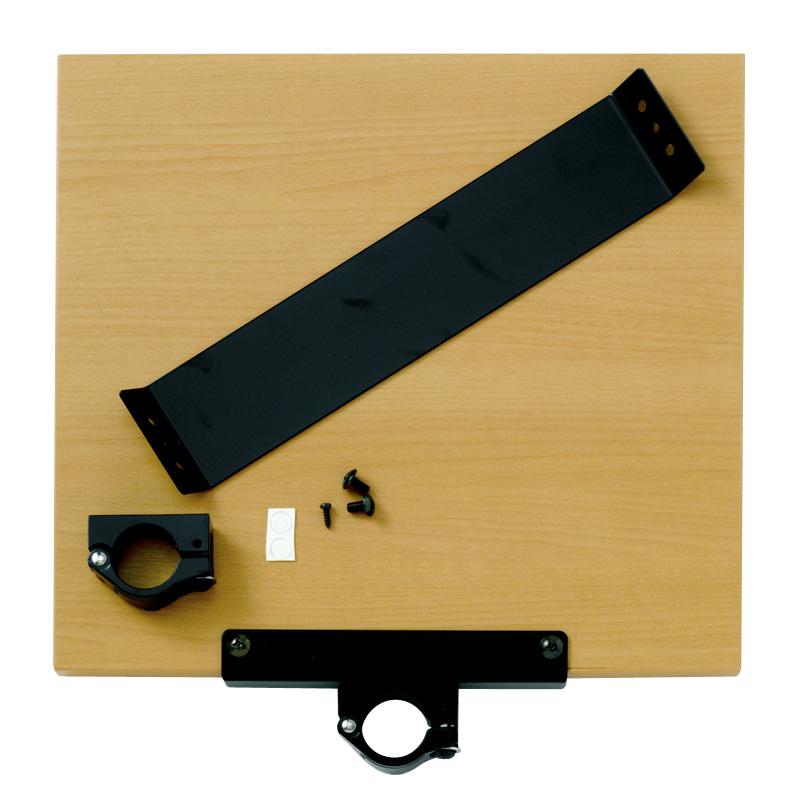 木製大型片持棚板 補強桟付幅360x奥行400x厚み20 薄木目柄(金具ブラック)HS4474