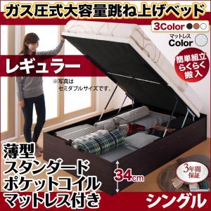 跳ね上げ式ベッド 簡単組立 らくらく搬入 ガス圧式 大容量 跳ね上げベッド Mysel マイセル 薄型スタンダードポケットコイルマットレス付き 縦開き シングル 深さレギュラー(代引不可)(NP後払不可)