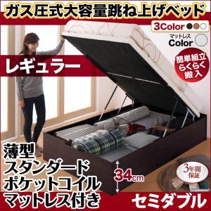 跳ね上げ式ベッド 簡単組立 らくらく搬入 ガス圧式 大容量 跳ね上げベッド Mysel マイセル 薄型スタンダードポケットコイルマットレス付き 縦開き セミダブル 深さレギュラー(代引不可)(NP後払不可)