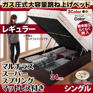 跳ね上げ式ベッド 簡単組立 らくらく搬入 ガス圧式 大容量 跳ね上げベッド Mysel マイセル マルチラススーパースプリング付き 縦開き シングル 深さレギュラー(代引不可)(NP後払不可)