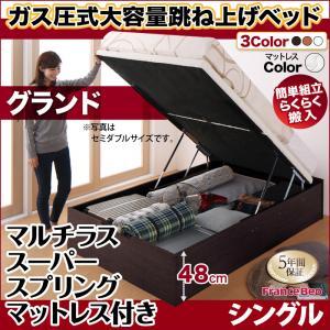 跳ね上げ式ベッド 簡単組立 らくらく搬入 ガス圧式 大容量 跳ね上げベッド Mysel マイセル マルチラススーパースプリング付き 縦開き シングル 深さグランド(代引不可)