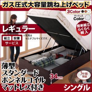 組立設置 跳ね上げ式ベッド 簡単組立 らくらく搬入 ガス圧式 大容量 跳ね上げベッド Mysel マイセル 薄型スタンダードボンネルコイルマットレス付き 縦開き シングル 深さレギュラー(代引不可)