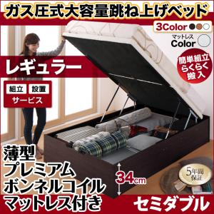 組立設置 跳ね上げ式ベッド 簡単組立 らくらく搬入 ガス圧式 大容量 跳ね上げベッド Mysel マイセル 薄型プレミアムボンネルコイルマットレス付き 縦開き セミダブル 深さレギュラー(代引不可)