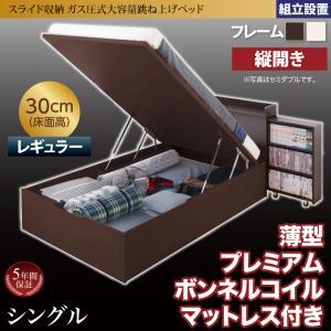 組立設置 スライド収納_大容量ガス圧式跳ね上げベッド Many-IN メニーイン 薄型プレミアムボンネルコイルマットレス付き 縦開き シングル 深さレギュラー(代引不可)