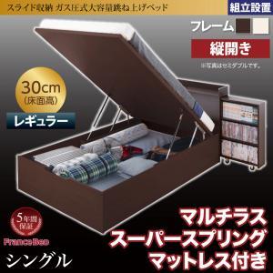 組立設置 スライド収納_大容量ガス圧式跳ね上げベッド Many-IN メニーイン マルチラススーパースプリングマットレス付き 縦開き シングル 深さレギュラー(代引不可)