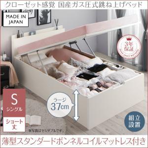 組立設置付 クローゼット 跳ね上げベッド aimable エマーブル 薄型スタンダードボンネルコイルマットレス付き 縦開き シングルサイズ ショート丈 深さラージ シングルベッド ベット(代引不可)
