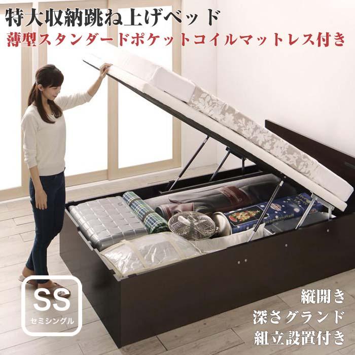 組立設置付 跳ね上げ式ベッド トランクルーム級 特大収納 収納ベッド T-space ティースペース 薄型スタンダードポケットコイルマットレス付き 縦開き セミシングルサイズ 深さグランド(代引不可)