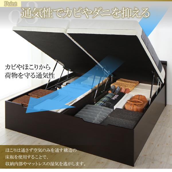 組立設置付 大型跳ね上げすのこベッド S-Breath エスブレス 薄型スタンダードボンネルコイルマットレス付き 縦開き キング(SS + S) ラージ