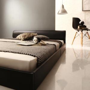 レザーベッド フロアベッド 高級感 モダンデザイン ローベッド GIRA SENCE ギラセンス プレミアムボンネルコイルマットレス付き ダブルサイズ