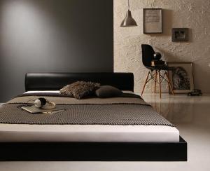 レザーベッド フロアベッド 高級感 モダンデザイン ローベッド GIRA SENCE ギラセンス マルチラススーパースプリングマットレス付き ダブルサイズ