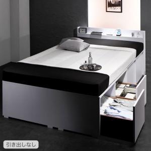 収納ベッド 棚付き コンセント付き 収納ケースも入る 大容量デザイン Liebe リーベ 薄型スタンダードボンネルコイルマットレス付き 引き出しなし セミダブルサイズ
