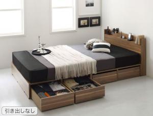 布団で寝れる 棚・コンセント付 おしゃれな引き出し収納ベッド X-Draw エックスドロウ プレミアムポケットコイルマットレス付き 引き出しなし セミダブルサイズ